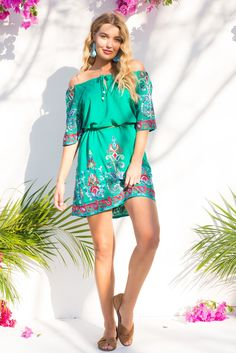 Izzy Day Dress in Bright Green with multi coloured embroidery – Mombasa Rose
