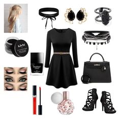 """""""Blacky outfit"""" by hollyjaki ❤ liked on Polyvore featuring WithChic, Gucci, Boohoo, Bounkit, Kendra Scott, NYX, Butter London, Hermès and Christian Dior"""