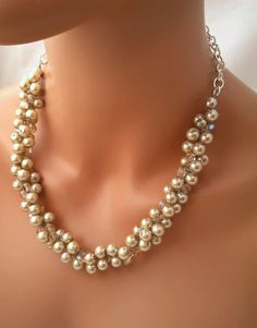 Champagne Pearl Necklace Swarovski Crystals by CameronsJewelryBox