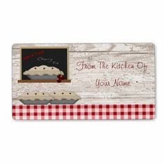 """This Cherry Pie """"From The Kitchen Of"""" label features mouse drawn country art. Adds a personal touch to your baked goods!"""