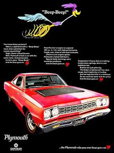 1968 Plymouth Road Runner - Promotional Advertising Poster