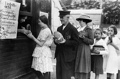 Bartering became a common practice during hyperinflation- exchanging something for something else but not accepting money for it because it was worthless.  Here we see Germans swapping bread, sausages and jam for tickets to the circus.
