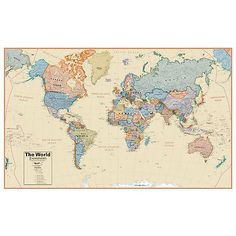 Globes and maps 102952 contemporary world wall map laminated 50 x globes and maps 102952 hemispheres home office decorative world boardroom 127 laminated wall gumiabroncs Images