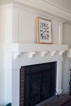 Fireplace Makeover • Le Bois Home Reface Brick Fireplace, Brick Fireplace Remodel, Fireplace Update, Brick Fireplace Makeover, Home Fireplace, Fireplace Surrounds, Fireplace Mantels, Fireplace Ideas, Living Room Built Ins