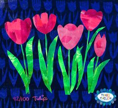 Tulips by Tracey English  www.tracey-english.co.uk Embroidery Applique, Tulips, Greeting Cards, Collage, English, Floral Patterns, Create, Grandkids, Illustration
