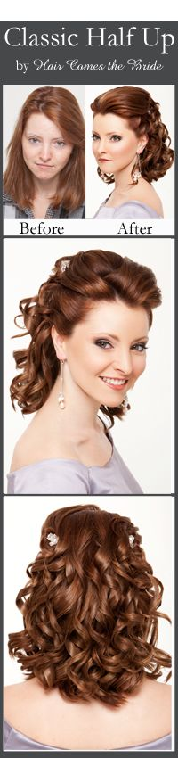 Before and After Bridal Hair and Makeup by Hair Comes the Bride ~ Classic Half Updo on a Redhead