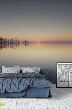 Schlafzimmer ideen Lake Mattamuskeet Wall Mural - Wallpaper How To Choose Laminate Flooring For Your Bedroom Murals, Wall Murals, Bedroom Decor, Discount Bedroom Furniture, Deco Design, Design Design, Interior Design Living Room, Decoration, Home Decor