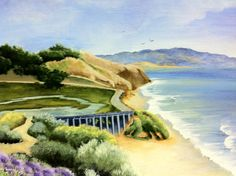 12X16 acrylic painting of the beautiful coastline just above La Jolla and includes a view of the road leading to Torrey Pines.   mary gilroy $250