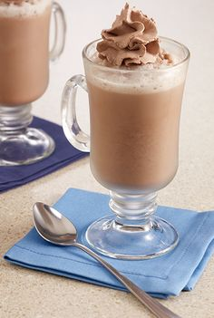 Hot chocolate recipe blended with ice and milk for a cold frothy after dinner dessert