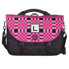 Custom Monogram Gift PINK BLACK PLAID V11 Laptop Commuter BagTo see more customizable laptop bags visit http://www.zazzle.com/jaclinart/gifts?cg=196096300199308601  #laptop #bag #custom #customizable #personalized #office #professional #computer