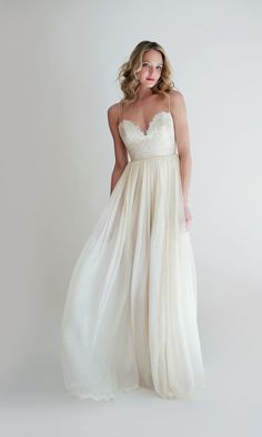 french lace sweetheart gown with spaghetti straps and a chiffon skirt