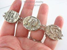 Estate-Sterling-Silver-925-Six-Oval-Panel-EGYPTIAN-REVIVAL-Bracelet-7-75-L