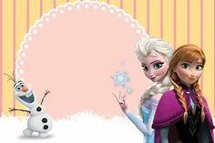 Convite de aniversário Frozen com fundo amarelo e rosa um tom de delicadeza e perfeição para o aniversário da sua filha.