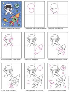 Learn how to draw an astronaut by turning their suit into a few simple shapes. Add a spaceship and planets for a really fun drawing. 1 class Draw an Astronaut · Art Projects for Kids Drawing Lessons For Kids, Art Drawings For Kids, Easy Drawings, Art Lessons, Art For Kids, Rocket Drawing, Astronaut Drawing, Drawing Drawing, Drawing Ideas