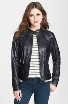 Bernardo Front Zip Leather Scuba Jacket available at #Nordstrom