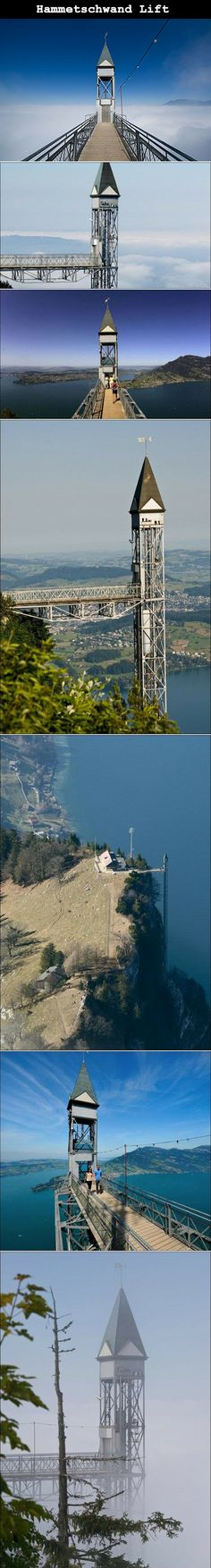 The Hammetschwand Lift is the highest exterior elevator of Europe and is located in Switzerland. It connects a spectacular rock path with the lookout point Hammetschwand on the Bürgenstock plateau overlooking Lake Lucerne.