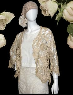 Victorian Antique Battenburg Lace Jacket With Back by PruAtelier