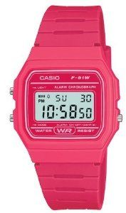 Casio F91WC-4A Unisex Classic Chronograph Alarm LCD Digital Watch (Pink) by Casio. $17.39. A tried and true style great for casual wear. With its daily alarm, hourly time signal and auto calendar, you'll never need to worry about missing an appointment again. Black Casual Classic watch with a Resin Band.