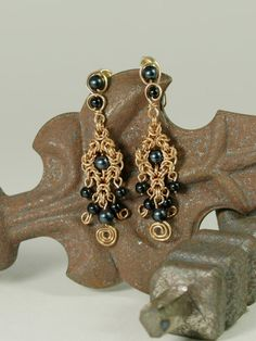 Chain Maille Earrings Beaded with Spiral Black