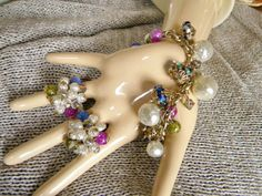 Chunky Sparkly 1960s Charm Bracelet & Clip by PeppermintPigs