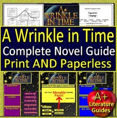 Digital Resource - A Wrinkle in Time, a 220 page/slide Common-Core aligned Complete Literature Guide for the novel by Madeleine L'Engle. It can be used with or without Google Drive (Paperless OR Print and Go) This guide can be used as a Print and Go, but also utilizes Google Docs for