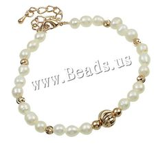 Freshwater Pearl Bracelet, brass lobster clasp, with 5.5cm extender chain, Potato, natural, white, 5-7mm,china wholesale jewelry beads