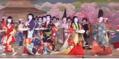 Geiko dancing at an odori, where 3 members are dressed in heian robes.