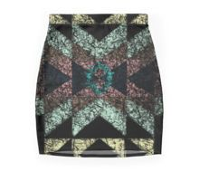 """Minirock /Skirt. """"owrn-out"""" tribal pattern with soft colours, green, pink and yellow."""