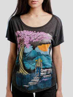 Unknown Journey - Multicolor on Heather Black Triblend Womens Dolman T Shirt