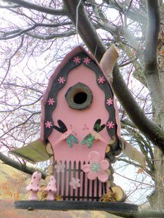 Razz ma Tazz Birdhouse pink and black and by adventureoriginals