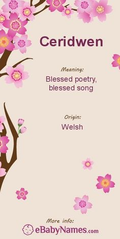 Meaning of Ceridwen: Blessed poetry, blessed song