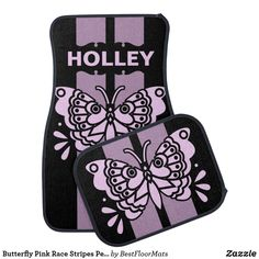 Shop Butterfly Pink Race Stripes Personalized Car Mat created by BestFloorMats. Personalize it with photos & text or purchase as is! Car Mats, Car Floor Mats, Cool Car Accessories, Racing Stripes, Pink Gifts, Dog Bowtie, Pink Stripes, Pink Fashion, Mother Day Gifts