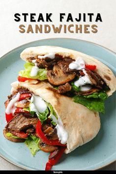 Steak Fajita Sandwiches Beef Recipes, Mexican Food Recipes, Cooking Recipes, Healthy Recipes, Ethnic Recipes, Healthy Meals, Yummy Recipes, Steak Fajitas, Beef Steak