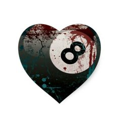 Grunge and Splatter Style 8-Ball Heart Stickers