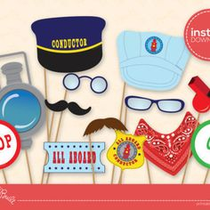 Printable Train Party Conductor Accessories (for Photo Booth)