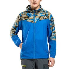 Climbing-Chun Zheng Men's Super Lightweight Windproof Jacket, UV Protective Windbreaker Blue Large ** Want additional info? Click on the image.