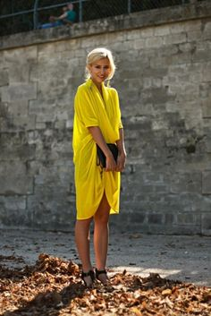 Yellow Dress + Black Clutch + Drapery Fit