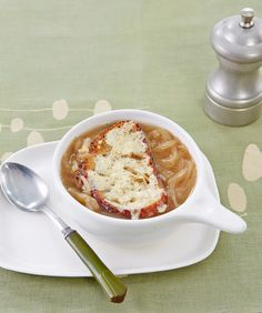 This hearty Vegetarian French Onion Soup appetizer captures all the irresistible flavor of the traditional dish—without the beef broth.