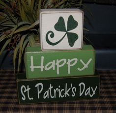 Happy St. PATRICK'S Day Wood Sign Shelf Sitter Blocks Holiday Seasona ...