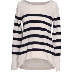 Velvet by Graham and Spencer Arlette Striped Cashmere Sweater ($168) ❤ liked on Polyvore featuring tops, sweaters, shirts, long sleeves, jumpers, blue, long-sleeve shirt, pullover sweaters, cashmere crewneck sweater and striped shirt