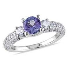 Precious Bride™ 6.0mm Tanzanite and 1/2 CT. T.W. Diamond Engagement Ring in 14K White Gold