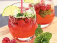 Cocktail cidre rosé et framboises