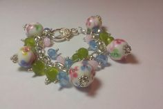 Spring Charm Bracelet with Lamp Work Beads and by GaGirlNaturals