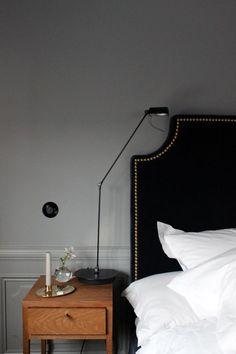Bedside table at Ett Hem hotel in Stockholm (lamp) Cozy Bedroom, Home Decor Bedroom, Master Bedroom, Bedroom Black, Bedroom Candles, Table Lamps For Bedroom, Hamptons Style Bedrooms, White Wall Decor, Design Hotel