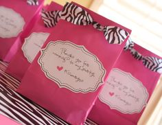Gift Bags for zebra party  www.kindofishdesigns.com