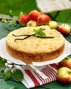 Recept äppelkaka med smuldeg och vanilj
