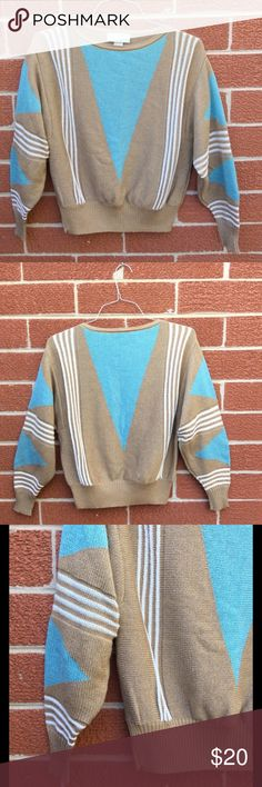 "Vintage 80s Sweater, Turquoise Geometric Pattern 1980's classic geometric design sweater by Vivanti. Great Teal, tan and white color scheme. Tapered shape with wide, low arms. Tag says size 16, but fits a modern small to medium.  Shoulder to Shoulder 21""  Armpit to armpit 23"" Length 24"" Sleeve 23"" Waistband (without stretch) 14"" wide Vivanti Sweaters Crew & Scoop Necks"