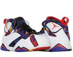 Nike Air Jordan 7 Retro (TD) [Nothing But Net] Lil Boys Shoes 304772-142 Size 3, Boy's, White