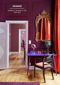 "Unusual color groups: "" Purple on purple on red. Bright Bazaar via Emerald Green Interiors. "" via apartment therapy. Fall Color Schemes, Color Combinations, Decoration Inspiration, Color Inspiration, Decor Ideas, Deco Cool, Decoracion Vintage Chic, Pantone Colour Palettes, Pantone Color"