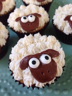 Sheep Cupcakes...tootsie rolls for head!